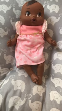 baby doll in pink and white heart print dress