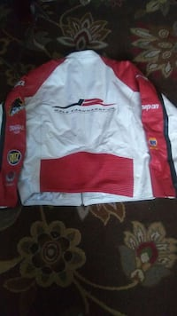white and red leather racing jacket Bowie, 20716