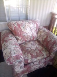 pink and white floral fabric sofa chair 2342 mi