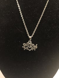 Silver chained Softball Mom pendant