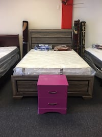 New Queen bed and mattress and boxspring