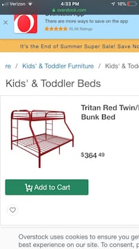 Red bunk bed top single bottom full Grand Rapids, 49503