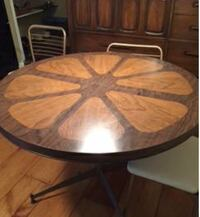 Mid Century Modern Brown Expandable Dining Table Tulip Pattern Danville, 03819