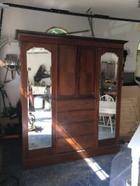 Antique Mirrored Armoire null