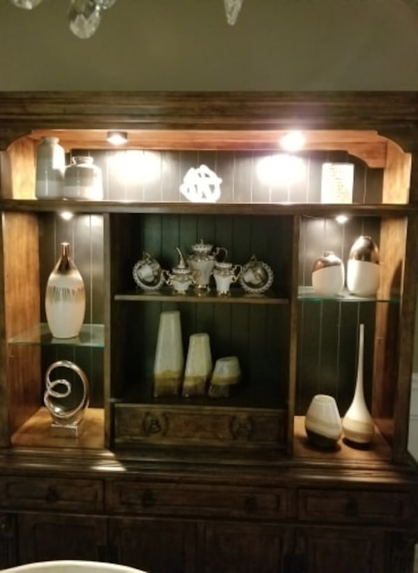 MOVING SALE: DINING ROOM- WALL UNIT 2 piece set 4c73fced-403d-4629-a70c-394b01abed79