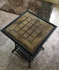 Wrought-iron Side Table With a Carved Wooden Top Pune