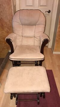 Grey and black glider chair with ottoman