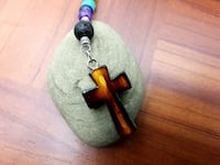 SEVEN CHAKRA BEADS ONE LAVA NATURAL STONE WITH CROSS  Skokie, 60076