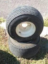 two gray auto wheel with tires