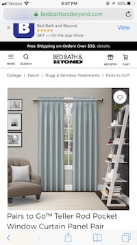 BED BATH AND BEYONG SHEER TEAL CURTAIN AND SPRING ROD Los Angeles