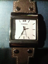 square silver-colored analog watch with black leather strap Delta, V4K 3N3