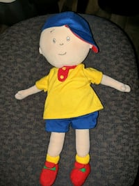 "Caillou 7"" doll, 2 DVD movies and a vhs movie"