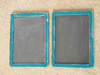 Two rustic blue distressed wood framed chalkboard signs Centreville, 20120