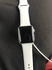 silver aluminum case Apple Watch with white sport band New York, 10469