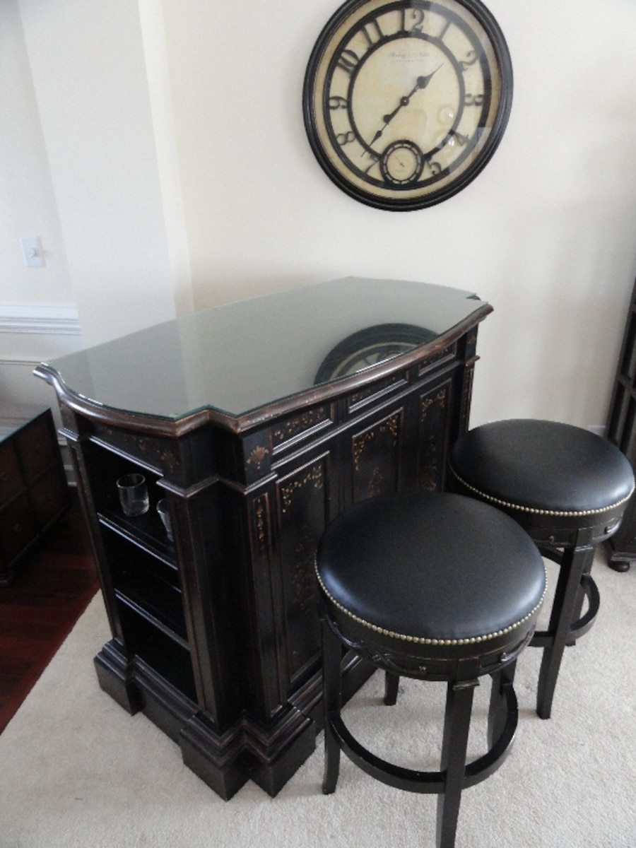 custom cut glass bar console with two leather swivel stools and custom cut 29383