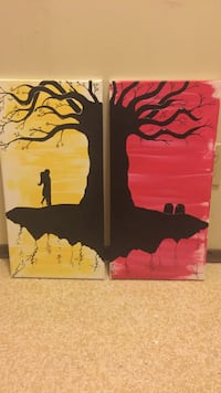 two person hugging beside tree painting