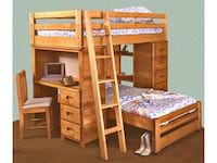 brown wooden bunk bed with mattress Shermans Dale, 17090