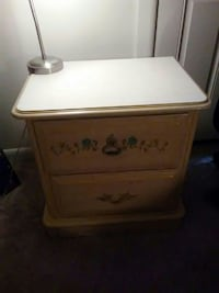 white and brown nightstand