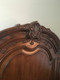 brown wooden floral embossed headboard Crofton
