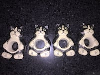 Four wood carved cat napkin ring holders Virginia Beach, 23453