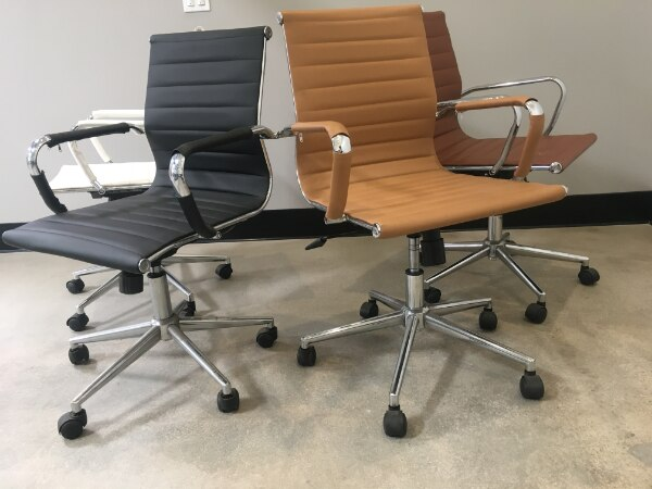 Astounding 2Xhome Mid Century Office Chair With Arms Wheels Modern Desk Chair Ergonomic Executive Chair Mid Back Pu Leather Arm Rest Tilt Adjustable Height Home Interior And Landscaping Ponolsignezvosmurscom