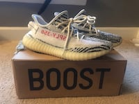 Pair of zebra adidas yeezy boost 350 v2 on box Woodbridge, 22191