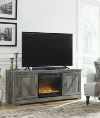 LG TV Stand with Glass/Stone Fireplace Insert Houston