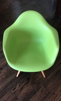 Midcentury Modern Molded Plastic Armchair (Lime Green)
