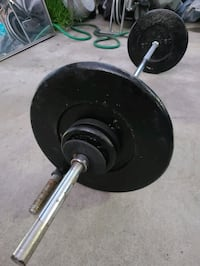 Barbell with 111lbs of weight plates