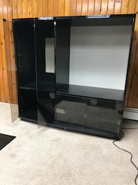 Black gloss Entertainment unit with glass doors