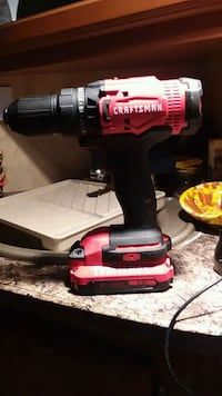 Craftsman 20 volt battery-powered drill with drill bit case and bits