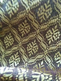 brown and yellow textiles