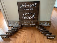 Wooden Wedding Table Signs Fairfax, 22033
