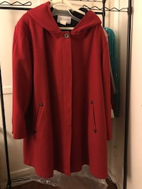 Red J G Hook 3x Winter Coat.  Hood and lined ; trimmed in Black leather.  Torrance, 90503