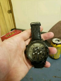round black chronograph watch with black leather s Coraopolis, 15108