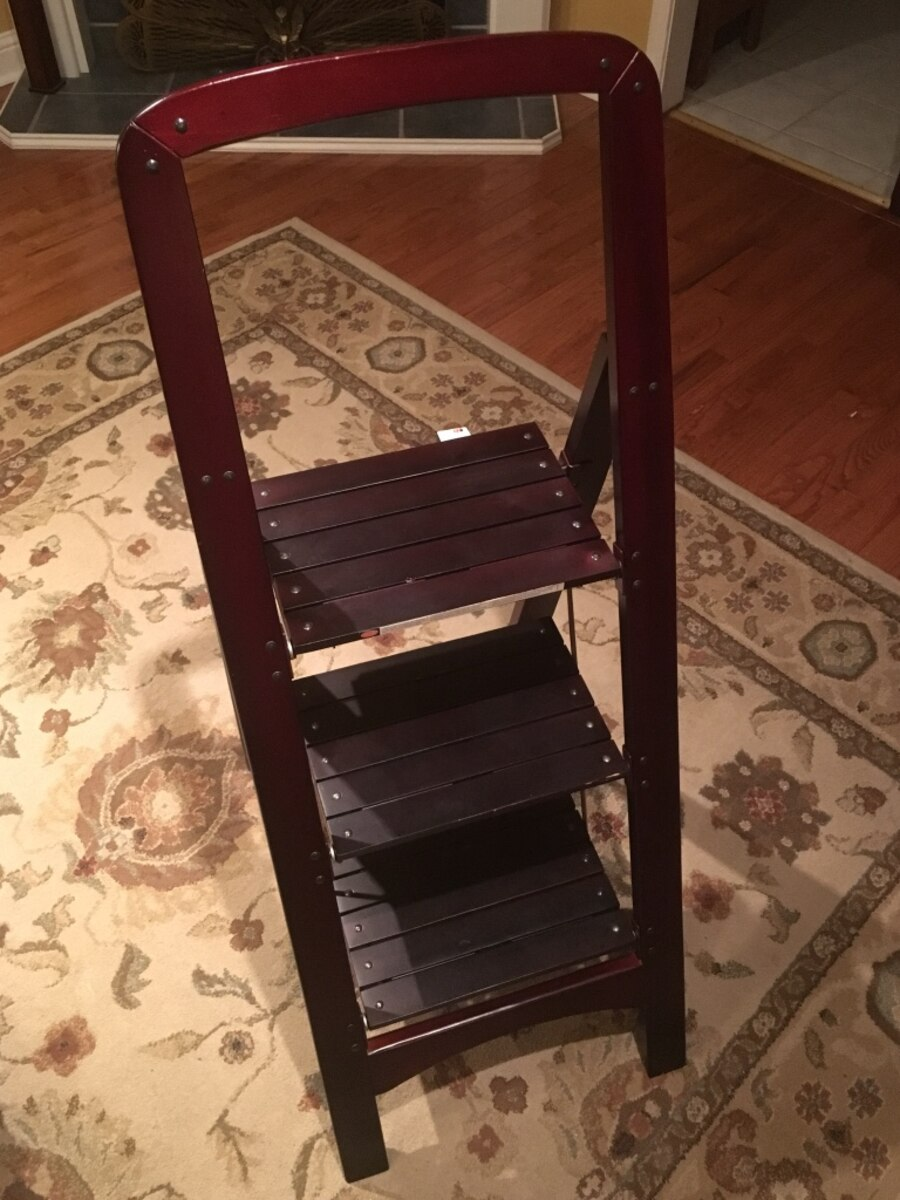 Used Mahogany Cosco Rockford Wooden Step Ladder Top Step