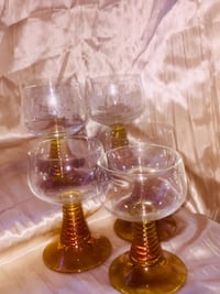 6vintage wine glasses.  Amber at the bottom, 3 have grapes and &leaves ,3 don't $15 for all  Shreveport, 71118