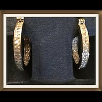 Nib/In/Out Diamond Hoops in 18Kt YG Over SS