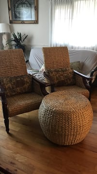 two brown wicker armchairs and round ottoman King, L7B 1E4