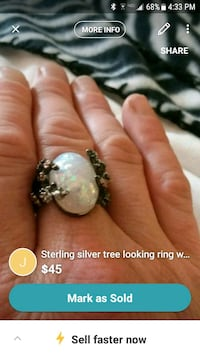 silver-colored ring with white gemstone screenshot Salem, 24153