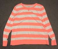 White and orange striped long-sleeved shirt 62 mi