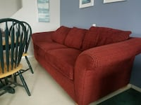 red corduroy loveseat