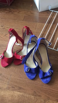 two pairs of red and blue peep-toe ankle-strap sandals Sarnia, N7S 4L5