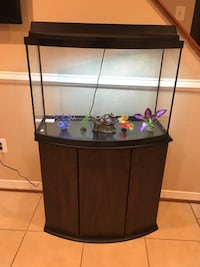Black framed clear glass fish tank 28 km