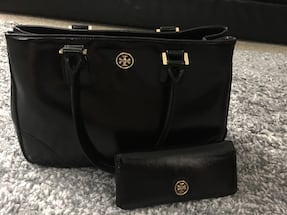 Authentic Tory Burch black patent bag with matching wallet.