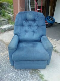 tufted blue suede sofa chair