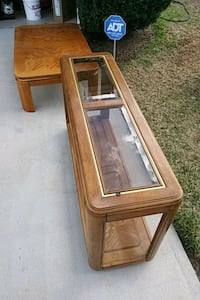 brown wooden framed glass top coffee table Melbourne, 32934