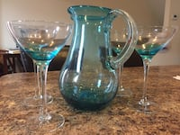 Margarita glasses and matching pitcher, pier1, teal ombré color Waldorf, 20601