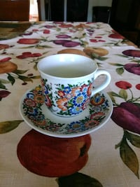 white and red floral ceramic teacup Parma, 44129