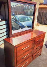 Brown wooden dresser with mirror night table and bed Brampton, L6P 2J5